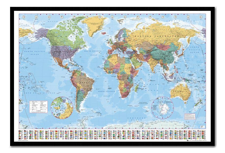 Weltkarte mit Flaggen und Fakten Magnetisch Anschlagtafel inklusive Magnete