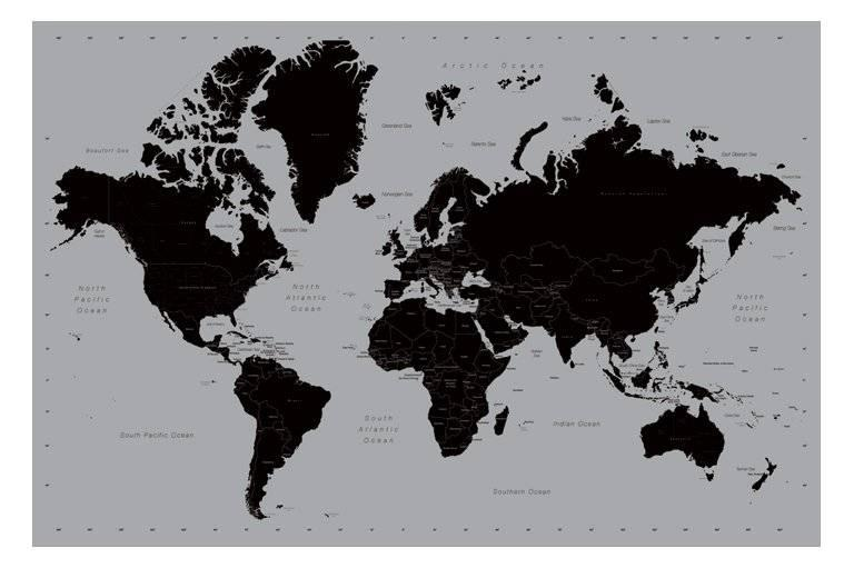 World Map Poster Contemporary Black and Silver Style Large New | eBay