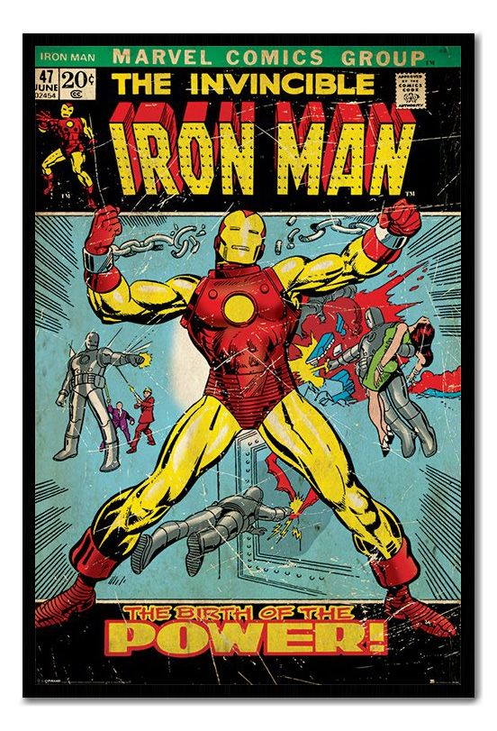 Framed Iron Man Classic Marvel Comics Cover Poster Ready ...