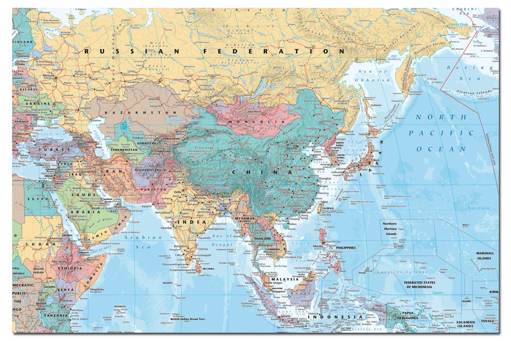 Asia and middle east map poster new laminated available ebay asia and middle east map poster new laminated gumiabroncs Gallery