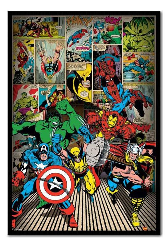 Framed Marvel Comics Here Come The Heroes Poster New Ready ...