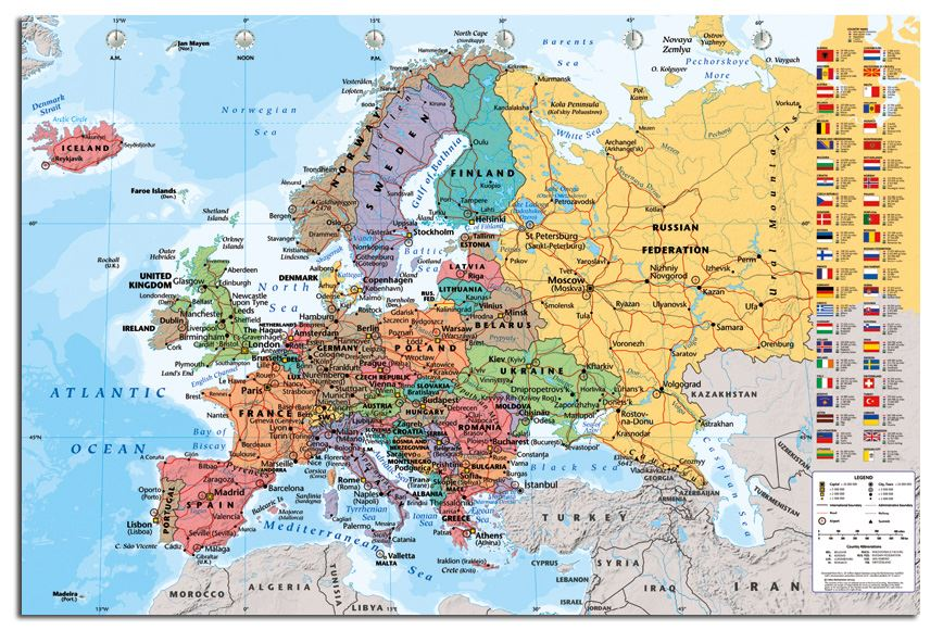 Europe map with flags wall chart poster new laminated available ebay this poster is also available framed or as a magnetic notice board please see our ebay shop for further details gumiabroncs Images