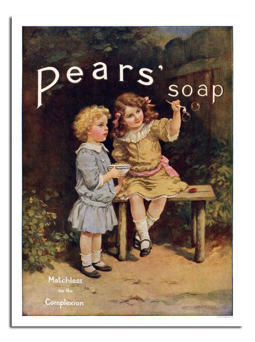 Vintage Soap  advertising  Poster reproduction. Pears soap