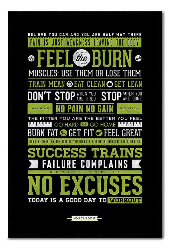 Framed Gym Motivational Quotes Poster Ready To Hang ...