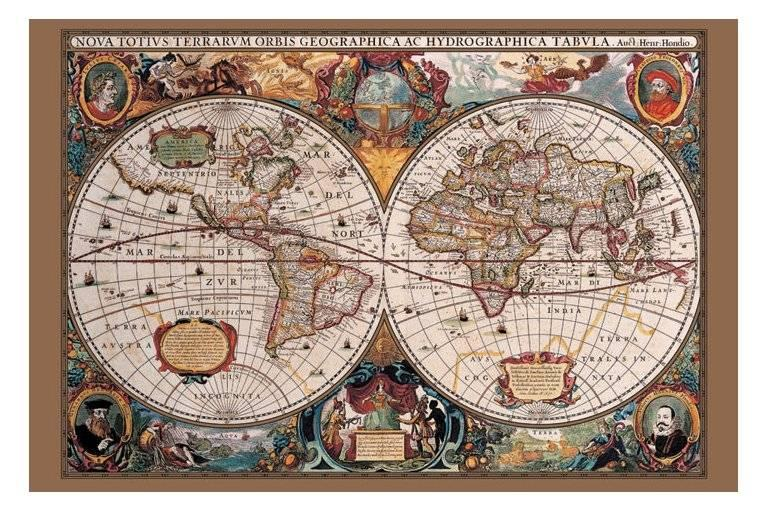 Th Century Old World Map Brand New With Gold Ink EBay - 17th century world map