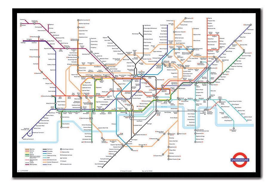 framed transport for london underground tube map poster