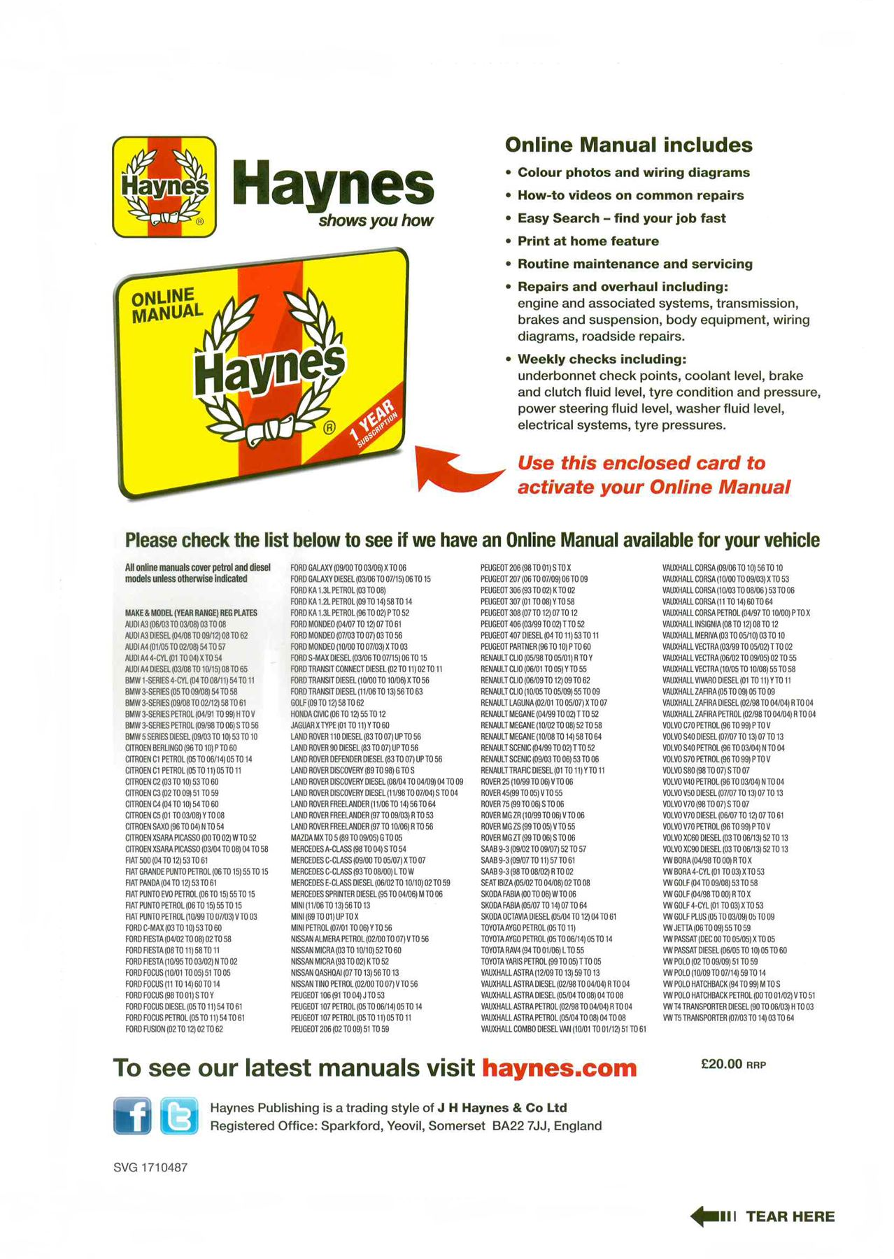Détails sur Haynes 1yr subscription online manual over 100 makes and on