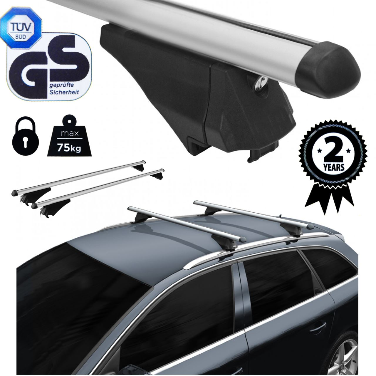 Roof Rack Cross Bars Aluminum Locking Fits Vw Tiguan Suv
