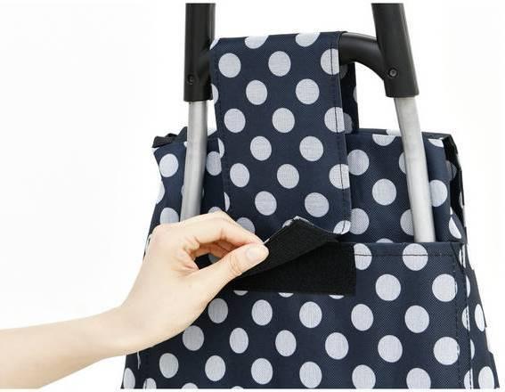 2 Wheel Folding Blue and White Polka Dot Shopping Trolley