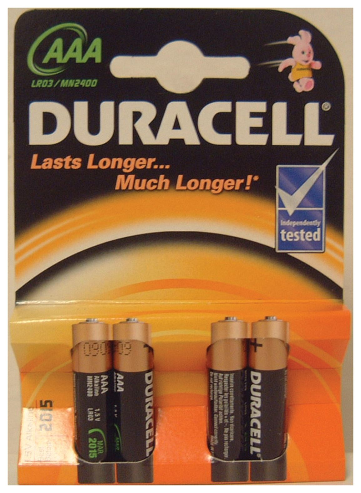 duracell alkaline batteries type aaa packing 4 p012bbe ebay. Black Bedroom Furniture Sets. Home Design Ideas