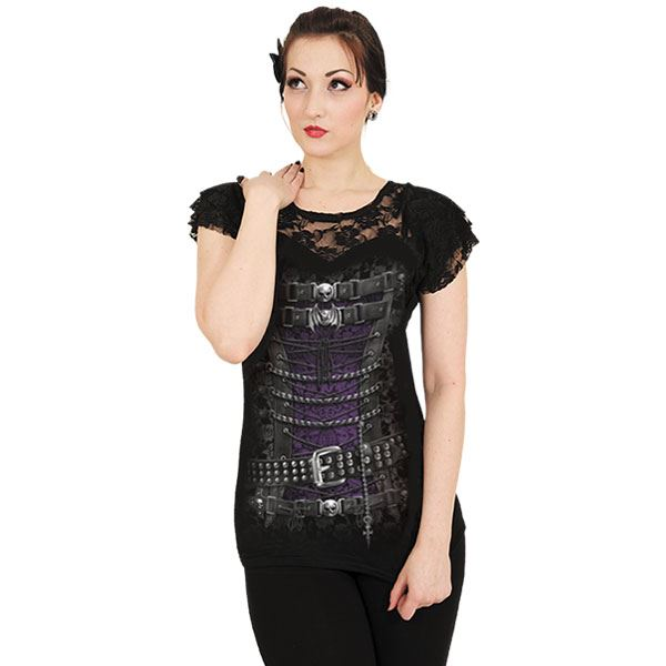 Spiral-Direct-Waisted-Victorian-Steampunk-Waistcoat-Black-Lace-Neck-Tshirt-Top