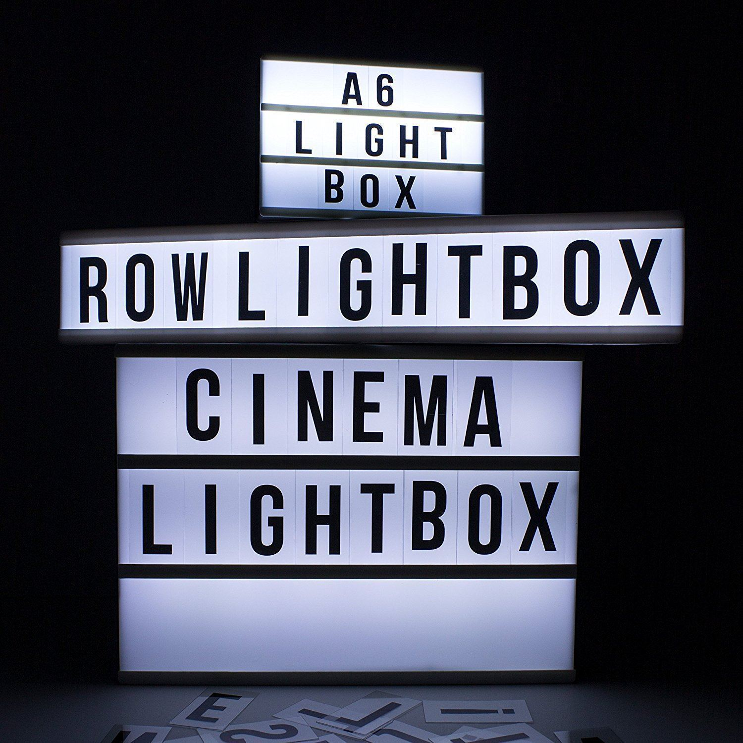 One Row Cinematic LED Light Box With Letters Numbers Freestanding Wall Mountable