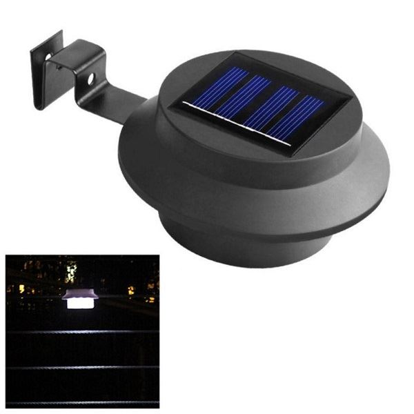 New 2Pc White//Black LED Gutter Light Outdoor Security Waterproof Solar Power