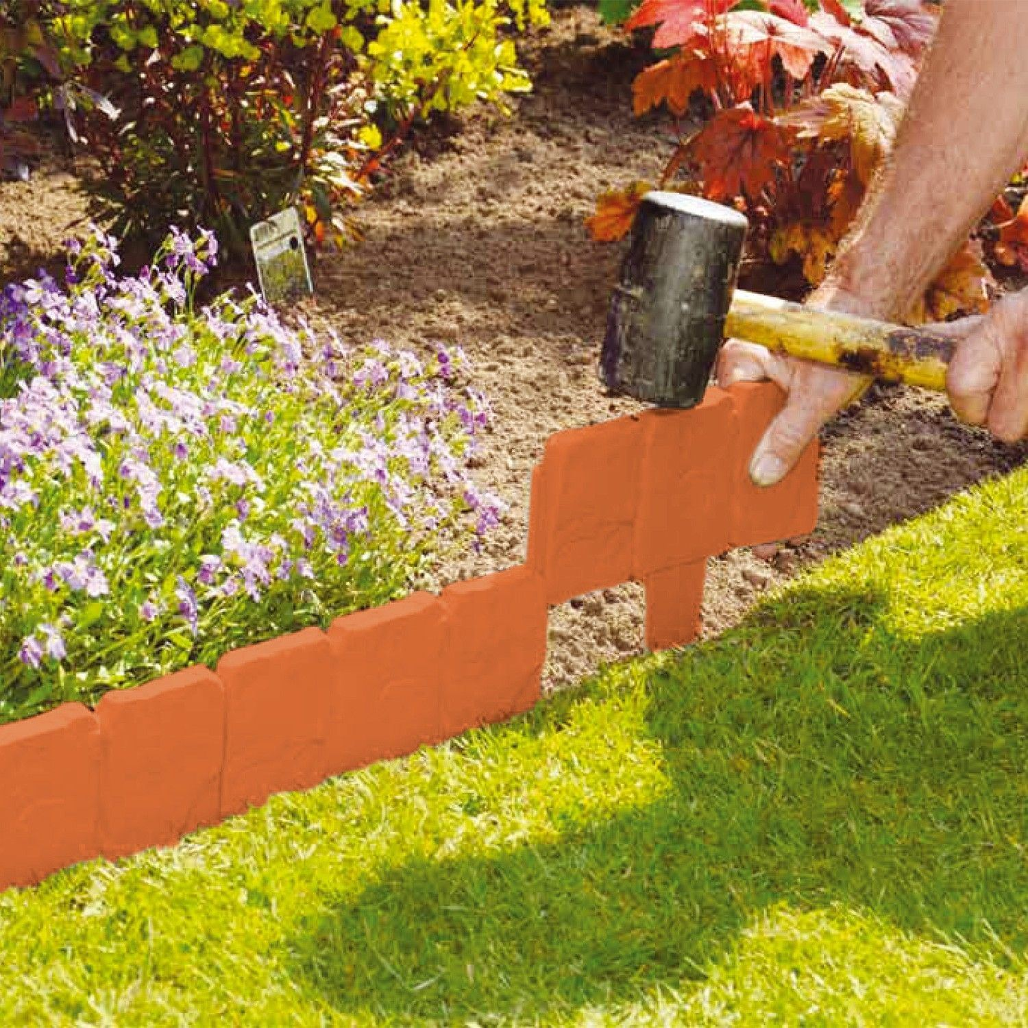NEW PLASTIC COBBLED STONE EFFECT GARDEN EDGING HAMMER