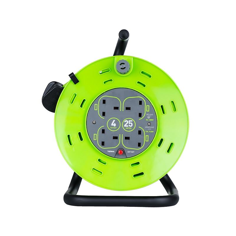 New 4 Way 25m Round Meter Heavy Cable 13 Amp Lead Mains UK Socket Extension Reel