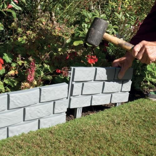 New Stone Brick Cobbled Effect Plastic Garden Edging