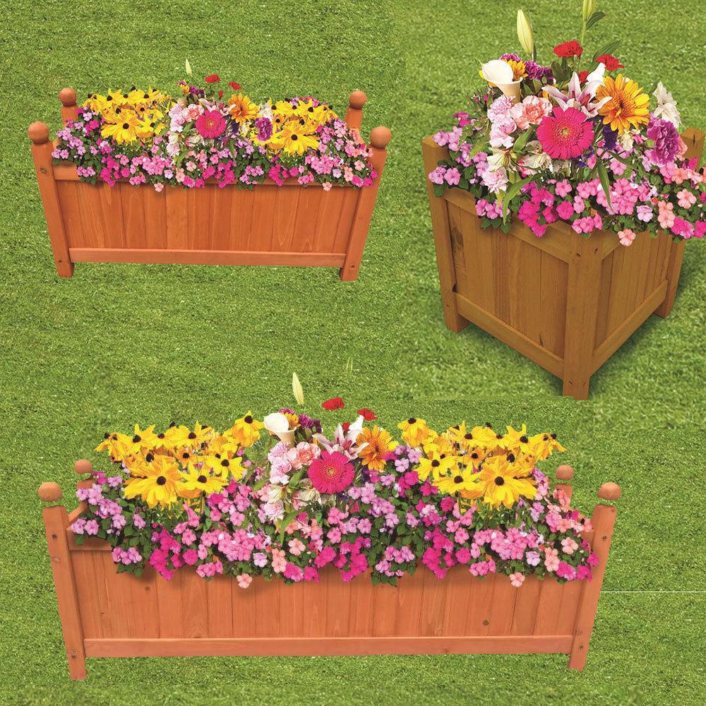 100 x 30 x 34 cm Large Wooden Garden Planter Fully Assembled. FREE DELIVERY