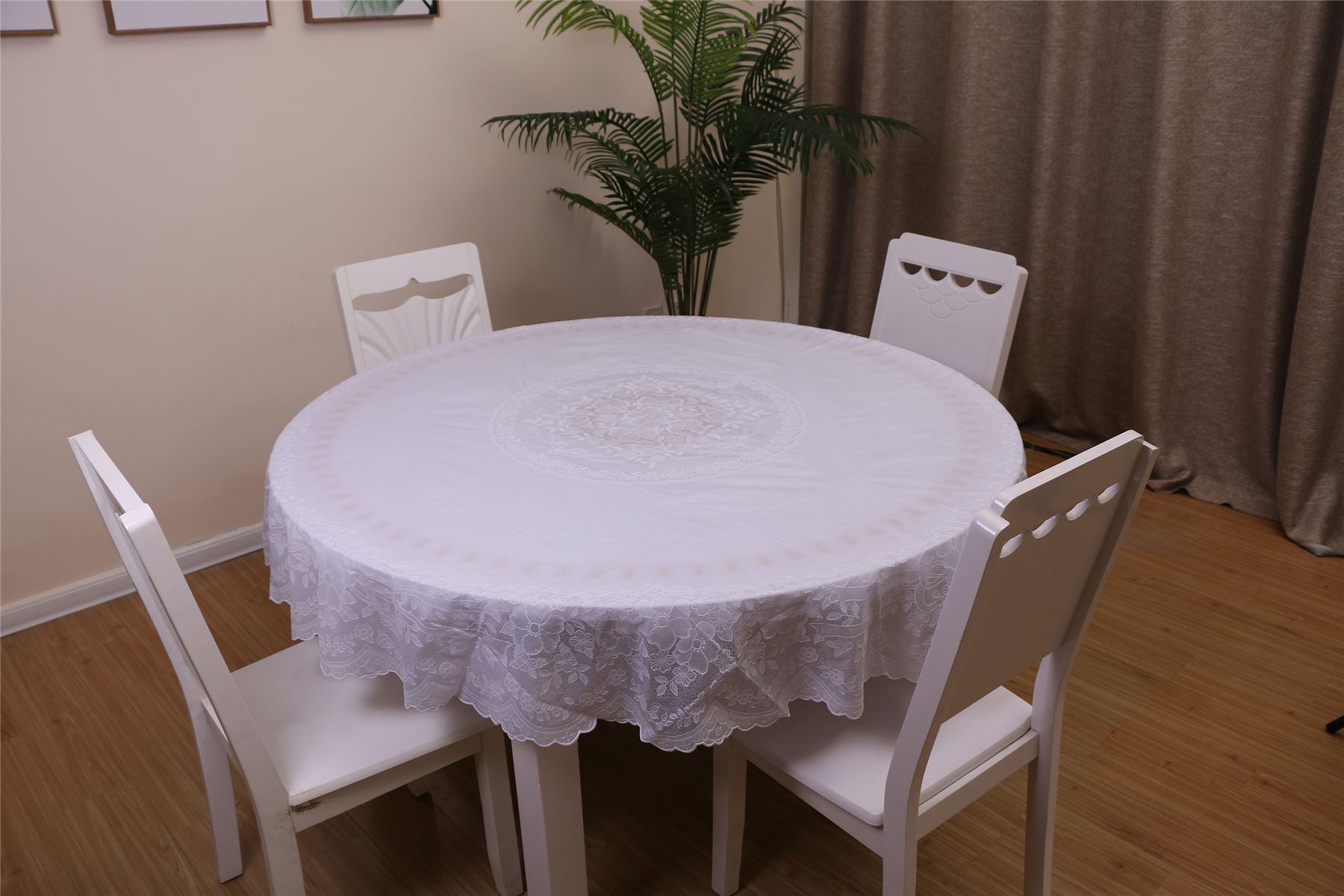 Vinyl Jacquard Design Embossed Lace Tablecloth Cover Round