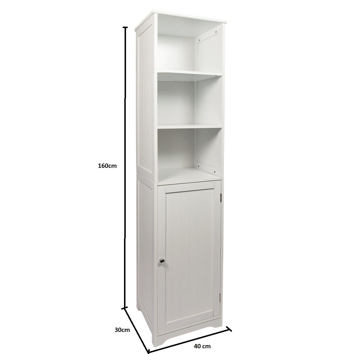 New White Wooden Bathroom Cabinet Shelf Furniture Cupboard