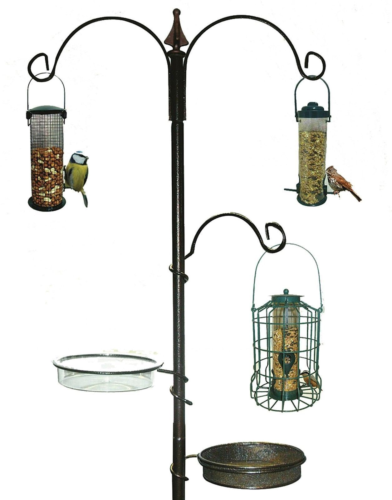 NOUVEAU TRADITIONNEL Bird Table Station d/'alimentation suspendu en bois de jardin en métal sauvage