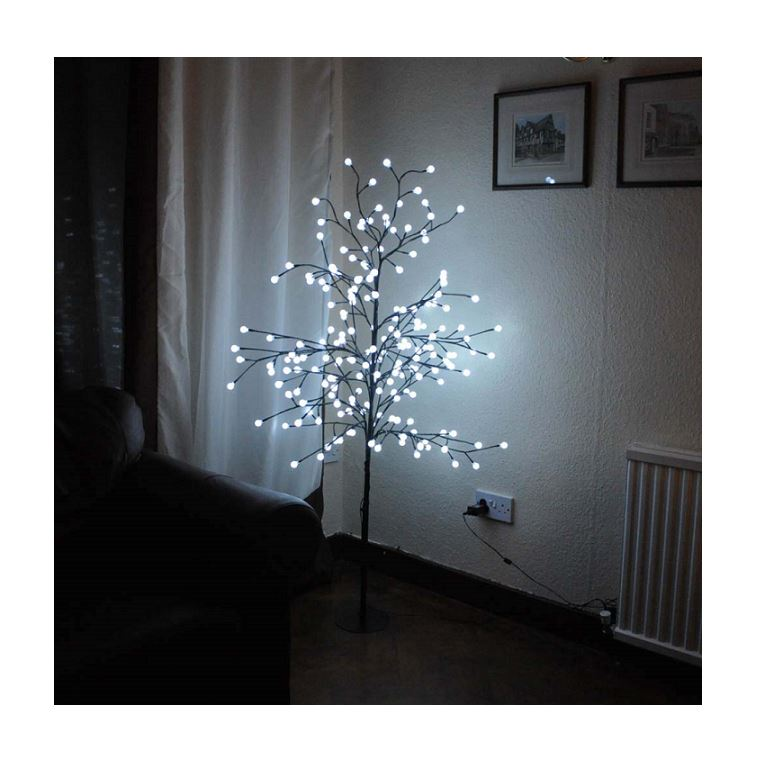 competitive price 60ff6 5420d Details about WHITE 5FT PRE-LIT LIGHT UP 200 BERRY LED CHERRY BLOSSOM TREE  CHRISTMAS XMAS 1.5M