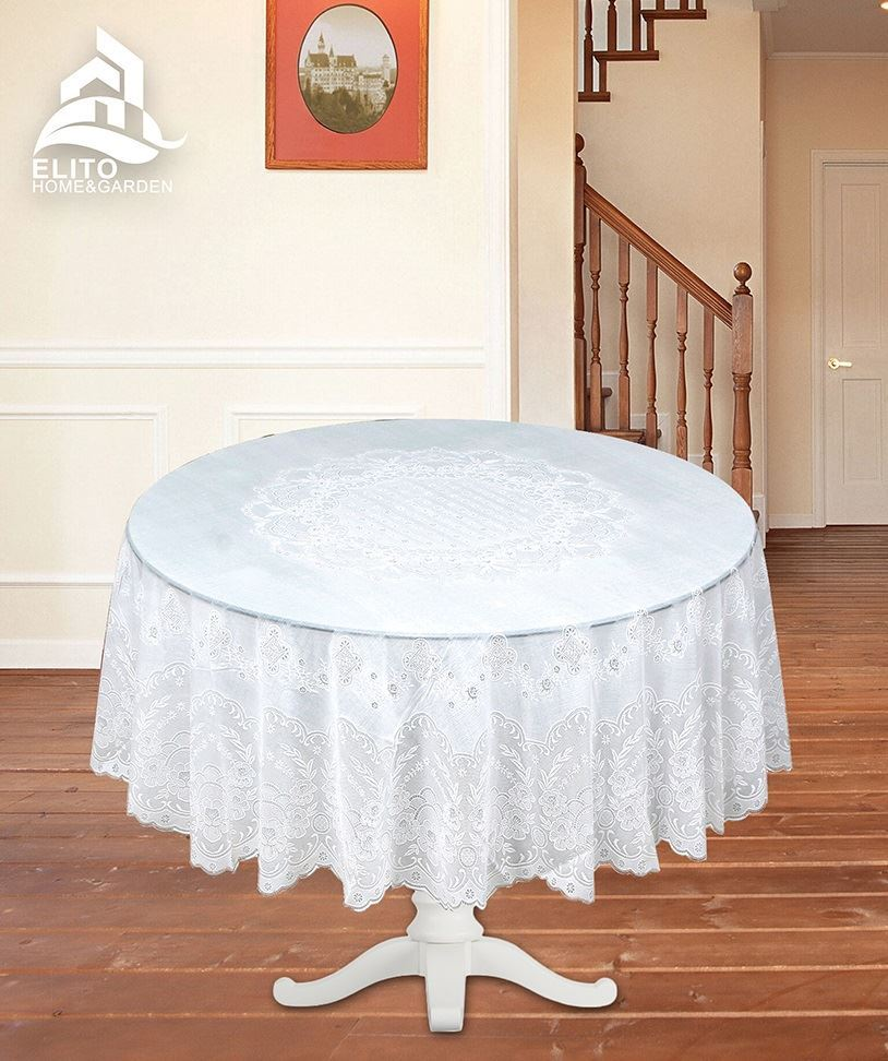 Vinyl Design Jacquard Embossed Lace Tablecloth Cover Oval