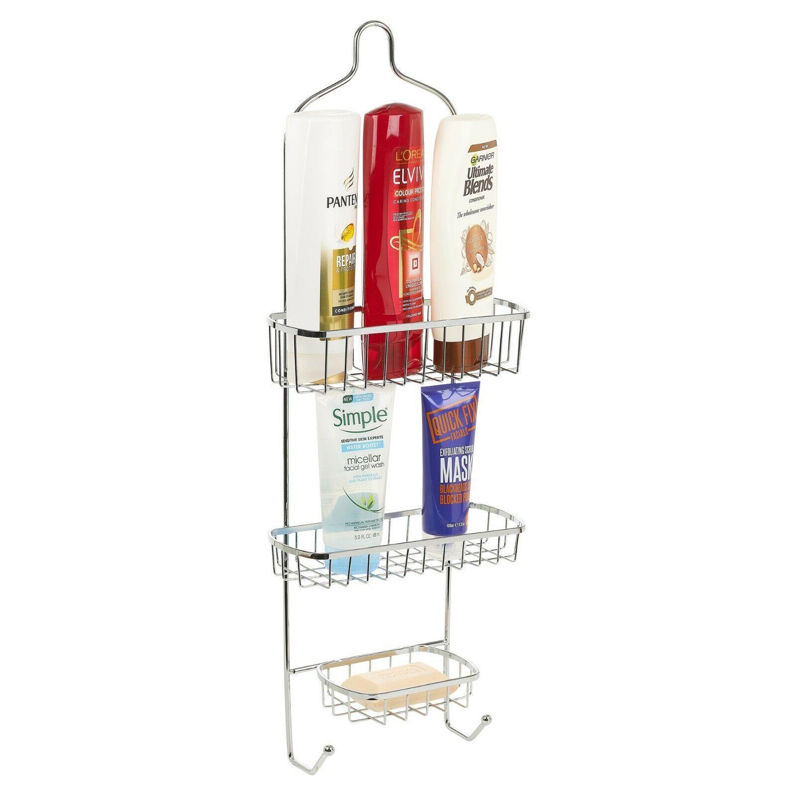 3 Tier Chrome Shower Caddy Bathroom Hanging Storage Rack Shelf Bath Storage New