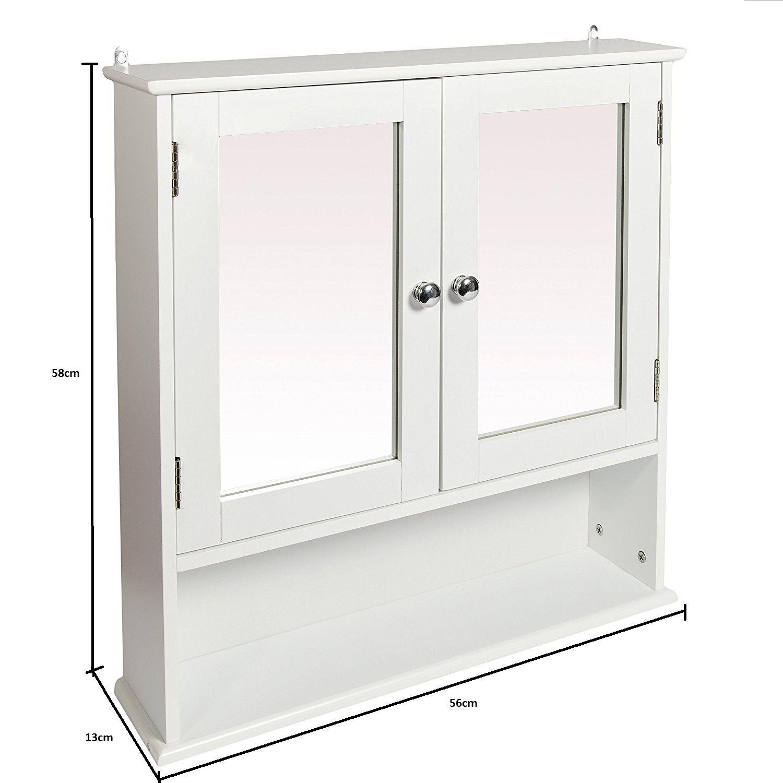 New-White-Wooden-Bathroom-Cabinet-Shelf-Furniture-Cupboard-Bedroom-Storage-Unit miniatuur 6