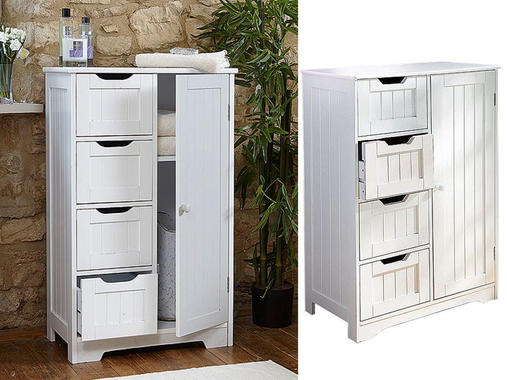 New-White-Wooden-Bathroom-Cabinet-Shelf-Furniture-Cupboard-Bedroom-Storage-Unit miniatuur 23