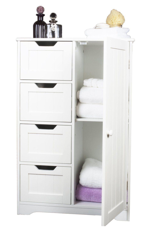 Nuevo gabinete de madera blanca organizador unidad 4 for Gabinete de almacenamiento de bano de madera