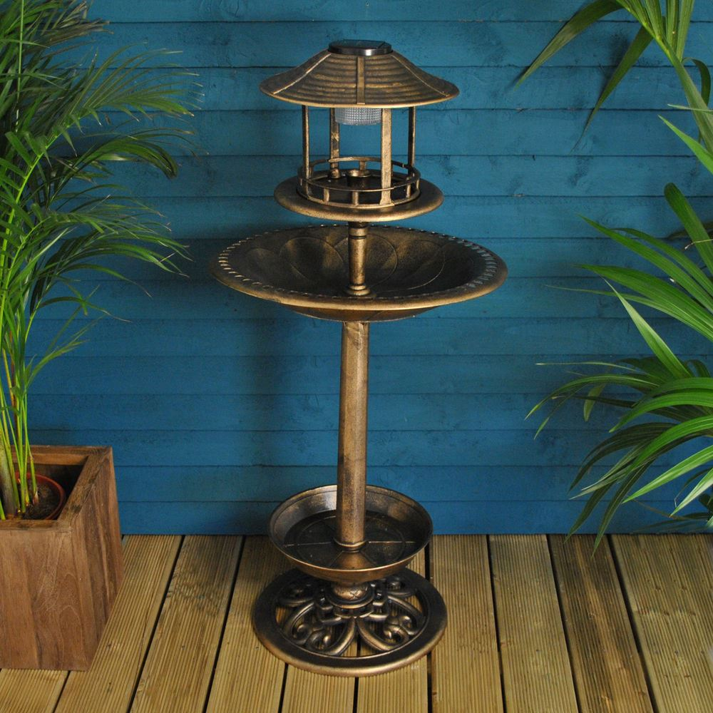 New Bird Ornamental Bronze Solar Bath Deluxe Feeding