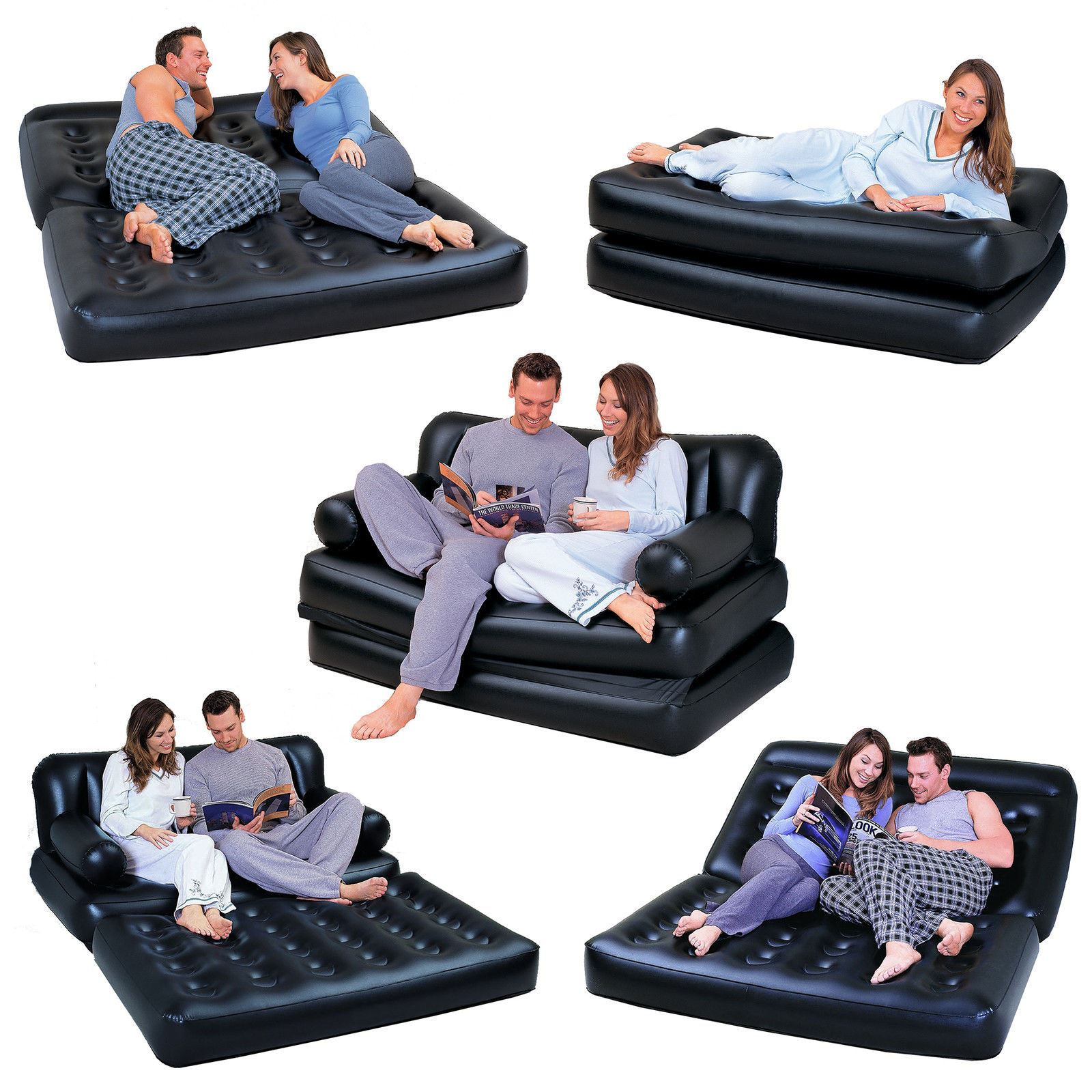 New 5 In 1 Double Black Inflatable Air Sofa Chair Couch Lounger Bed Mattress Ebay