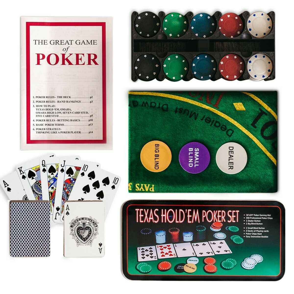 Poker Sets Accessories 200 Poker Game Texas Hold Em Set Gaming Mat Chips 2 Decks Playing Card With Box Collectables Ubi Uz