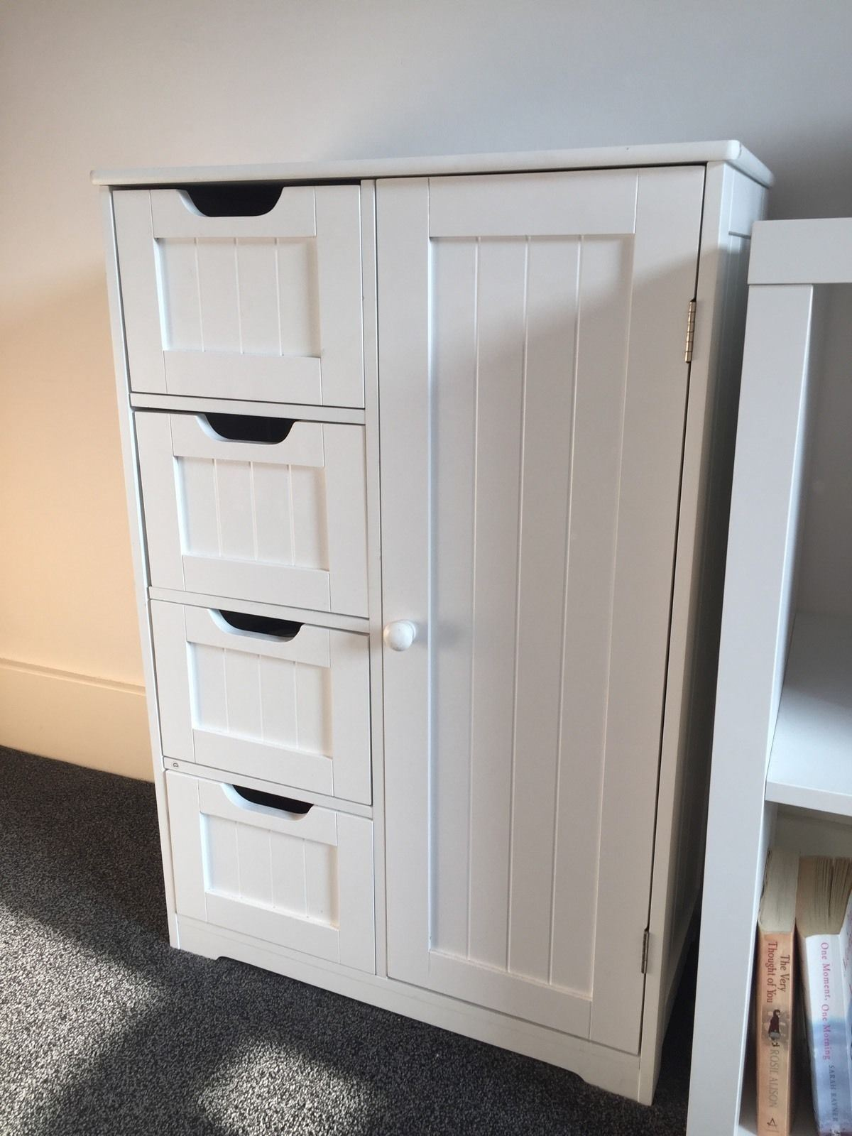 New-White-Wooden-Bathroom-Cabinet-Shelf-Furniture-Cupboard-Bedroom-Storage-Unit miniatuur 26