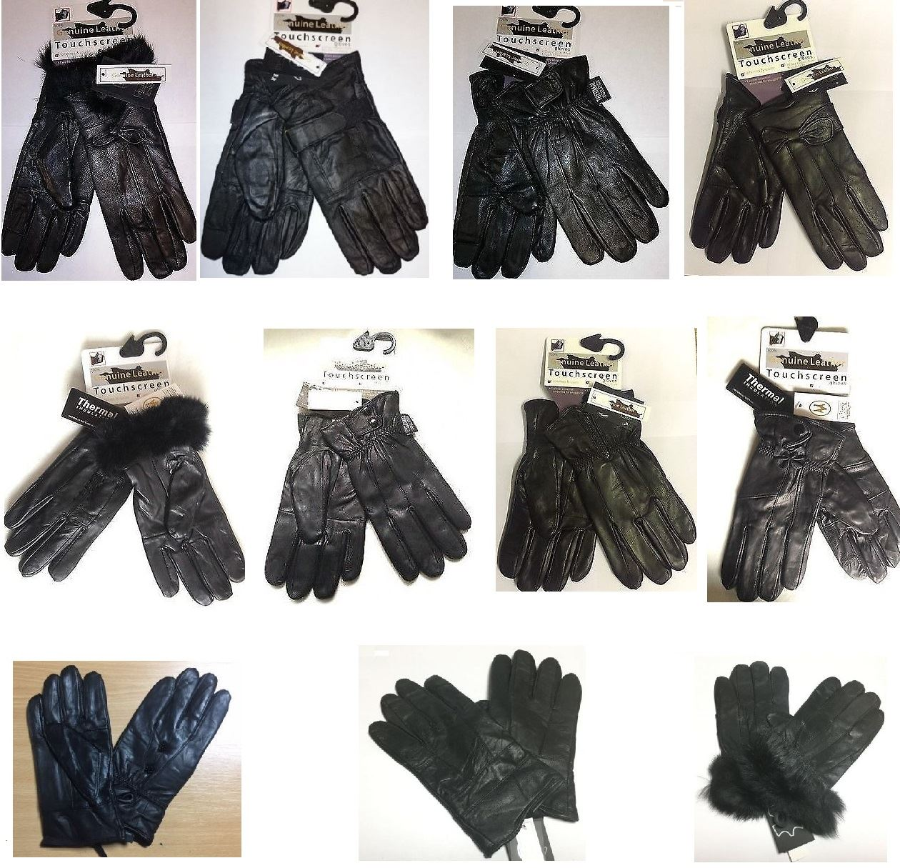 New Ladies Buckle Leather Gloves Small//Medium Driving Riding Winter Thermal Warm
