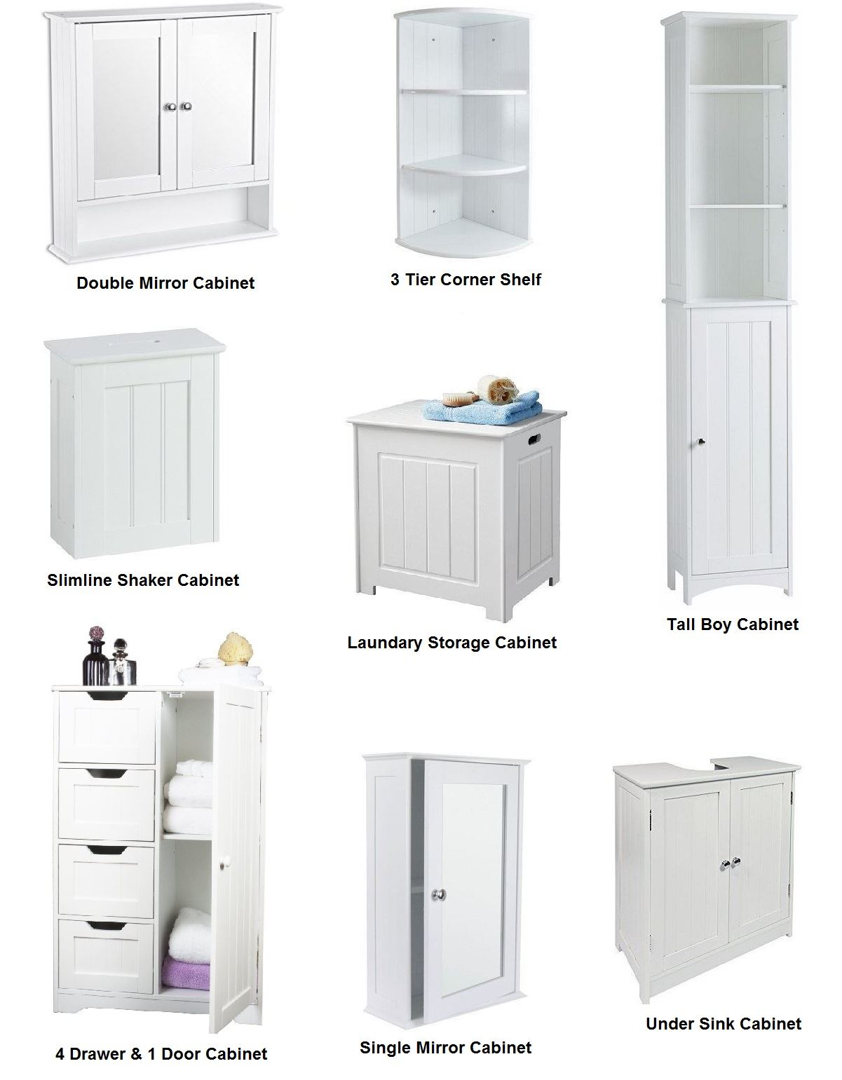 New White Wooden Furniture Bathroom Cabinet Shelf Cupboard Bedroom Storage Unit | EBay
