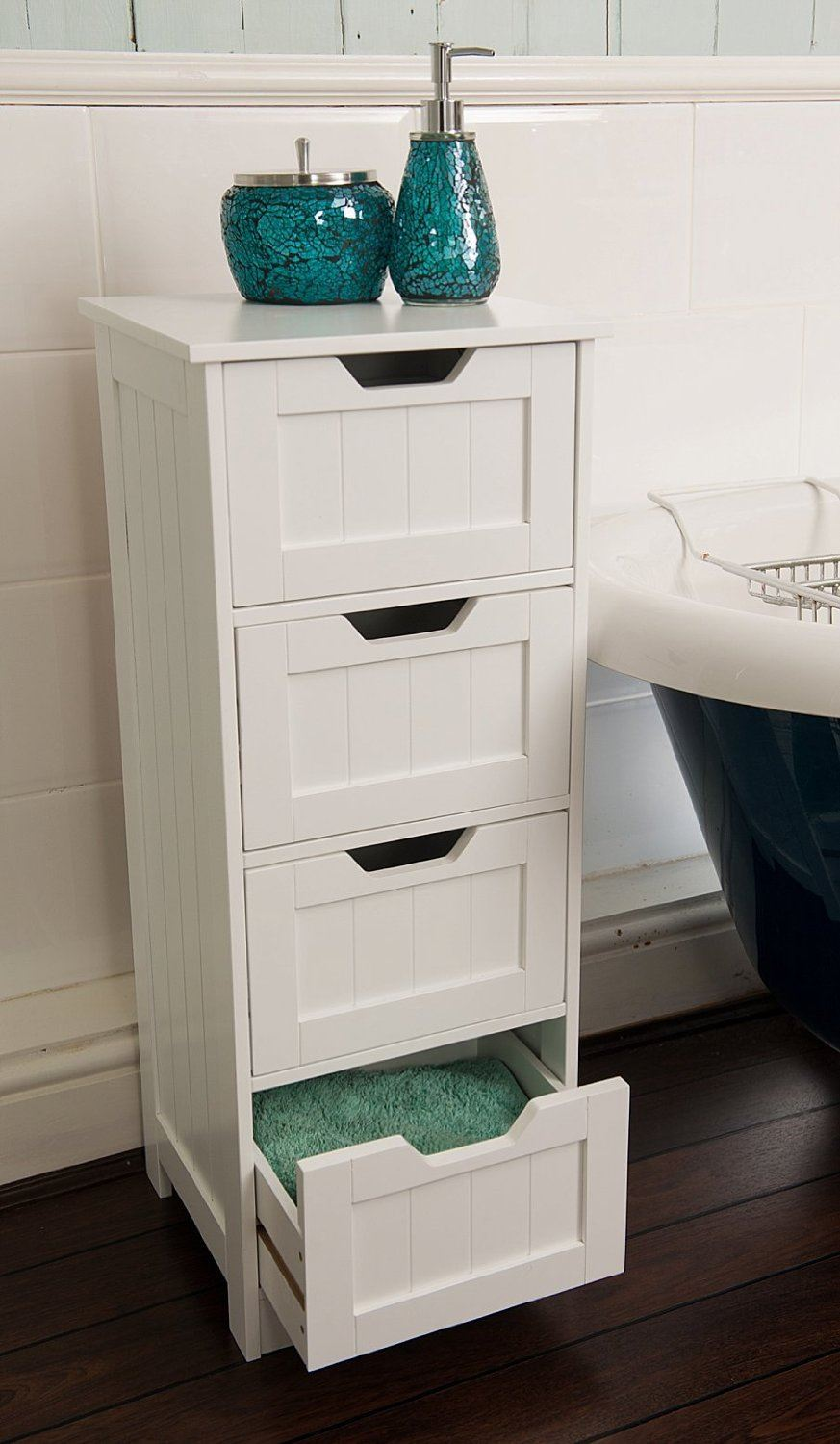 New free standing bathroom unit white wooden 4 drawer for White wooden bathroom drawers