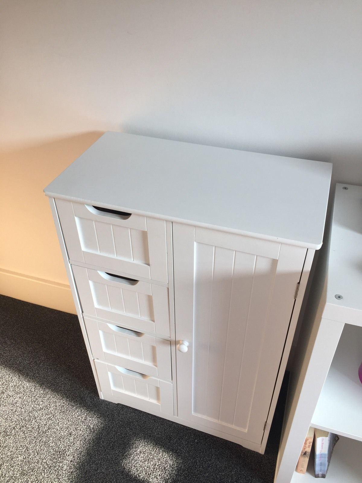 New-White-Wooden-Bathroom-Cabinet-Shelf-Furniture-Cupboard-Bedroom-Storage-Unit miniatuur 24