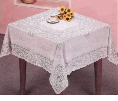 NEW VINYL LACE TABLECLOTH WHITE SQUARE RECTANGLE OVAL
