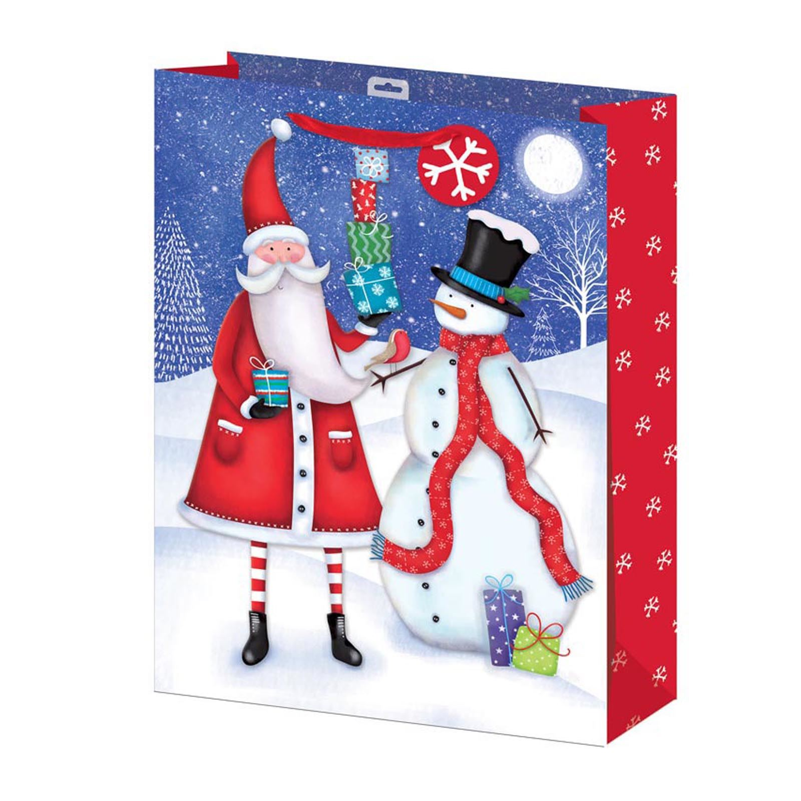 Details about Christmas Gift Wrapping Gift Bag Medium Large Small Santa & Snowman