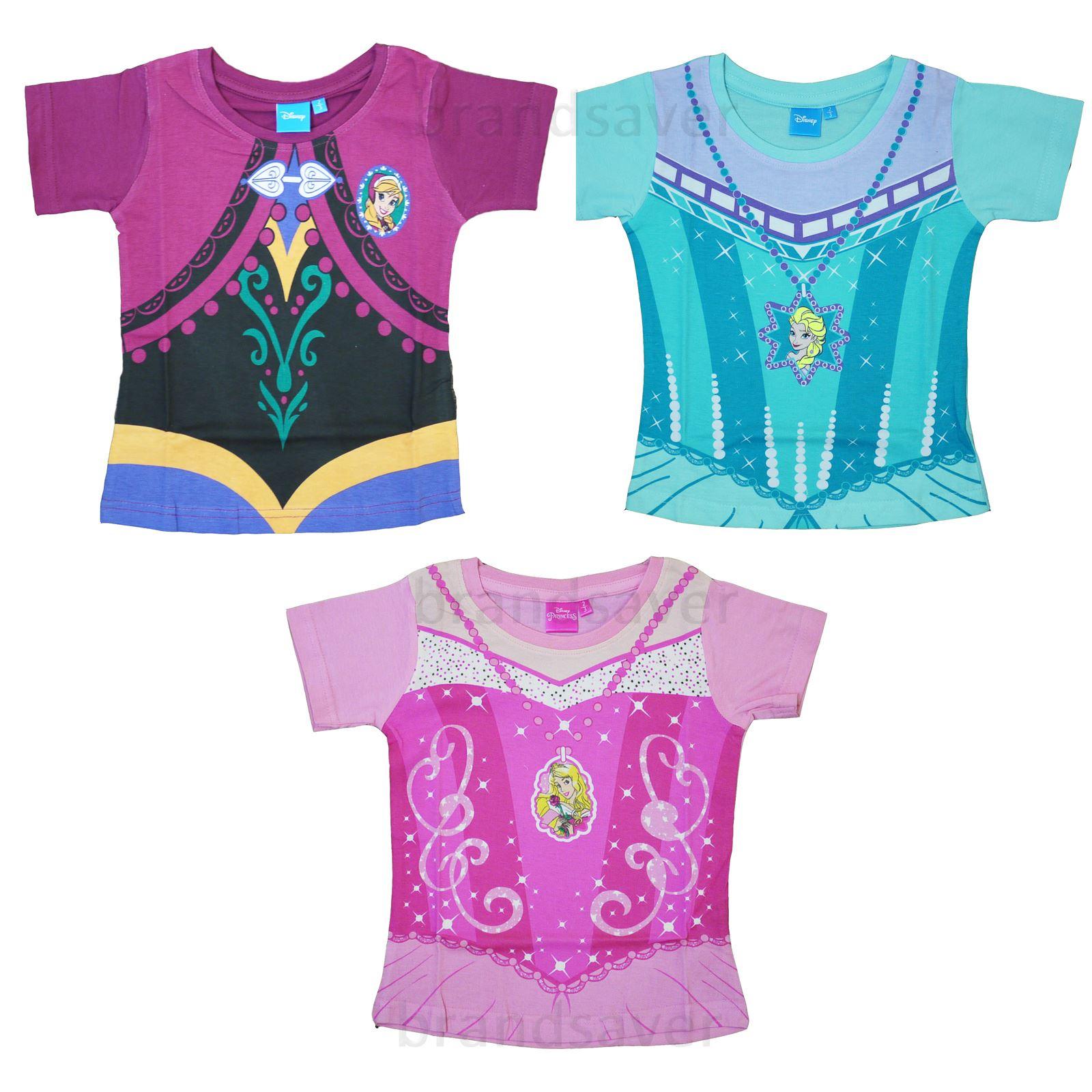 official disney princess frozen kids girls t shirt anna elsa dress up ages 2 7 ebay. Black Bedroom Furniture Sets. Home Design Ideas