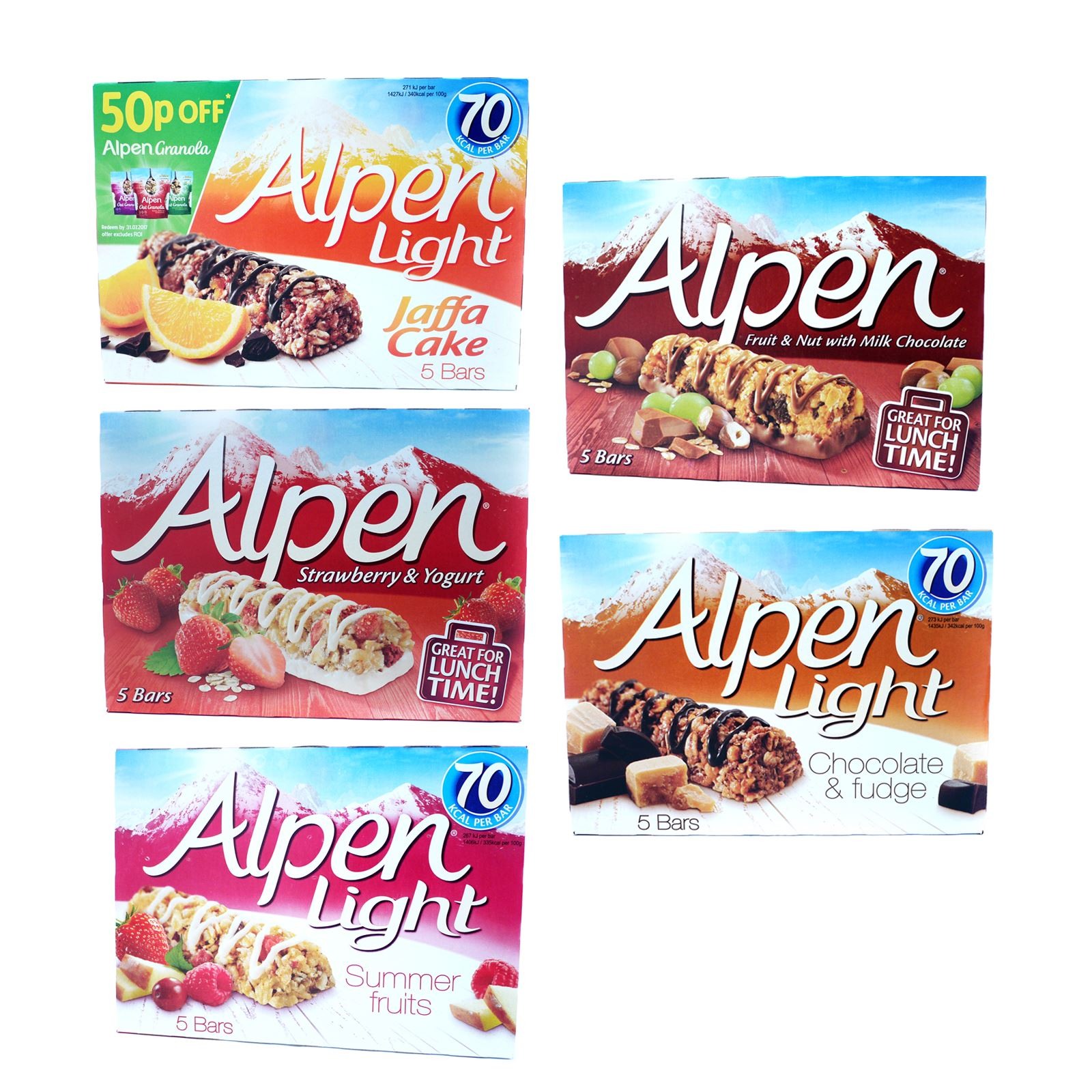 Alpen light jaffa cake fruit cereal bar chocolate snack 10 boxes of alpen light jaffa cake fruit cereal bar chocolate snack 10 boxes of 5 50 bars aloadofball