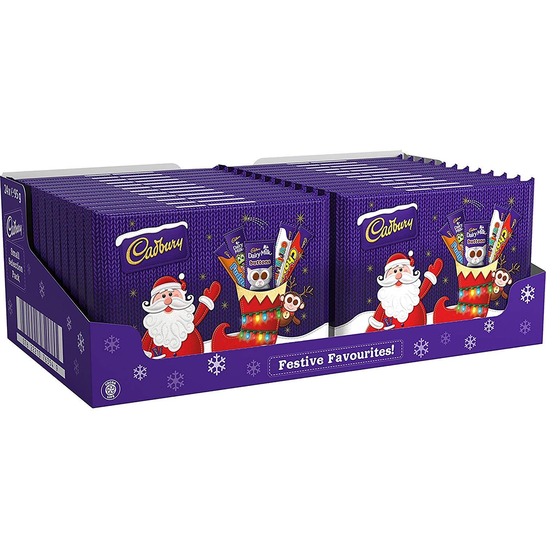 24 x Cadbury Small Selection Box 95g Kids XMAS Chocolate Christmas ...