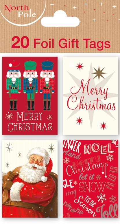 Merry Christmas Gift Tags.Details About Traditional Foil Christmas Gift Tags 4 Designs Santa Merry Christmas Pack Of 20