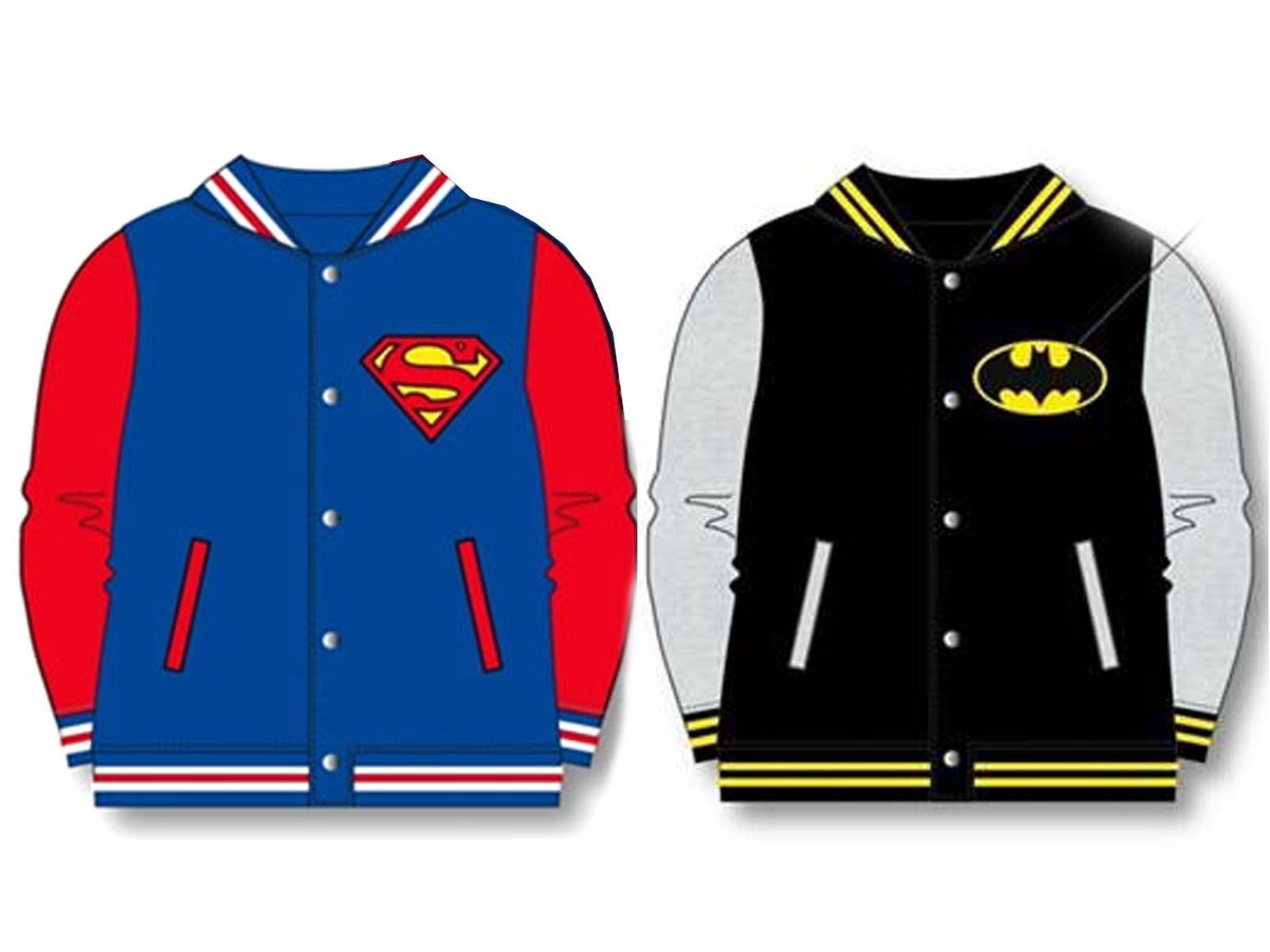 a980988f OFFICIAL KIDS BOYS BATMAN SUPERMAN BASEBALL JACKET COAT VARSITY SUPERHERO