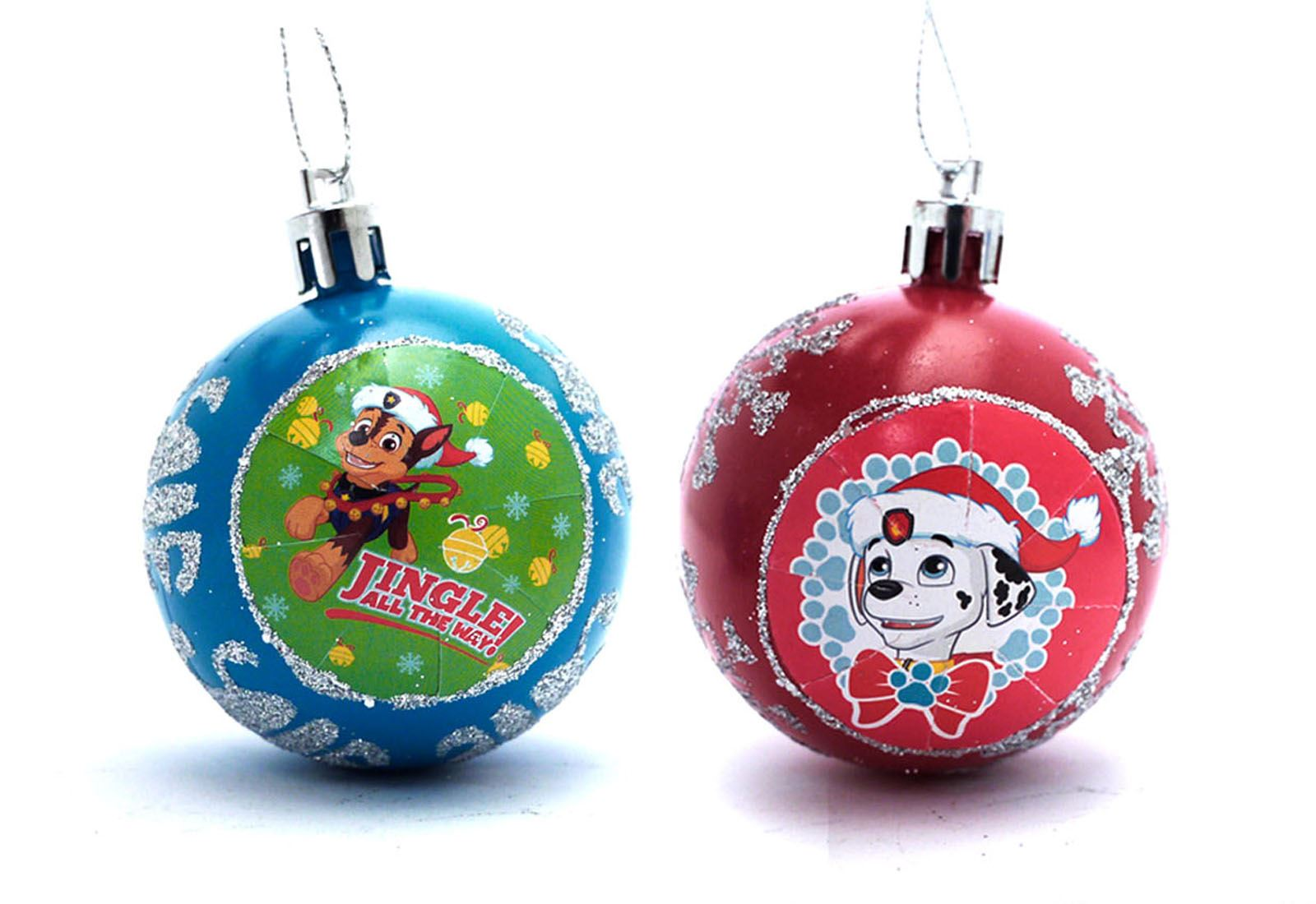 paw patrol christmas baubles kids marshall chase xmas tree decoration pack of 2