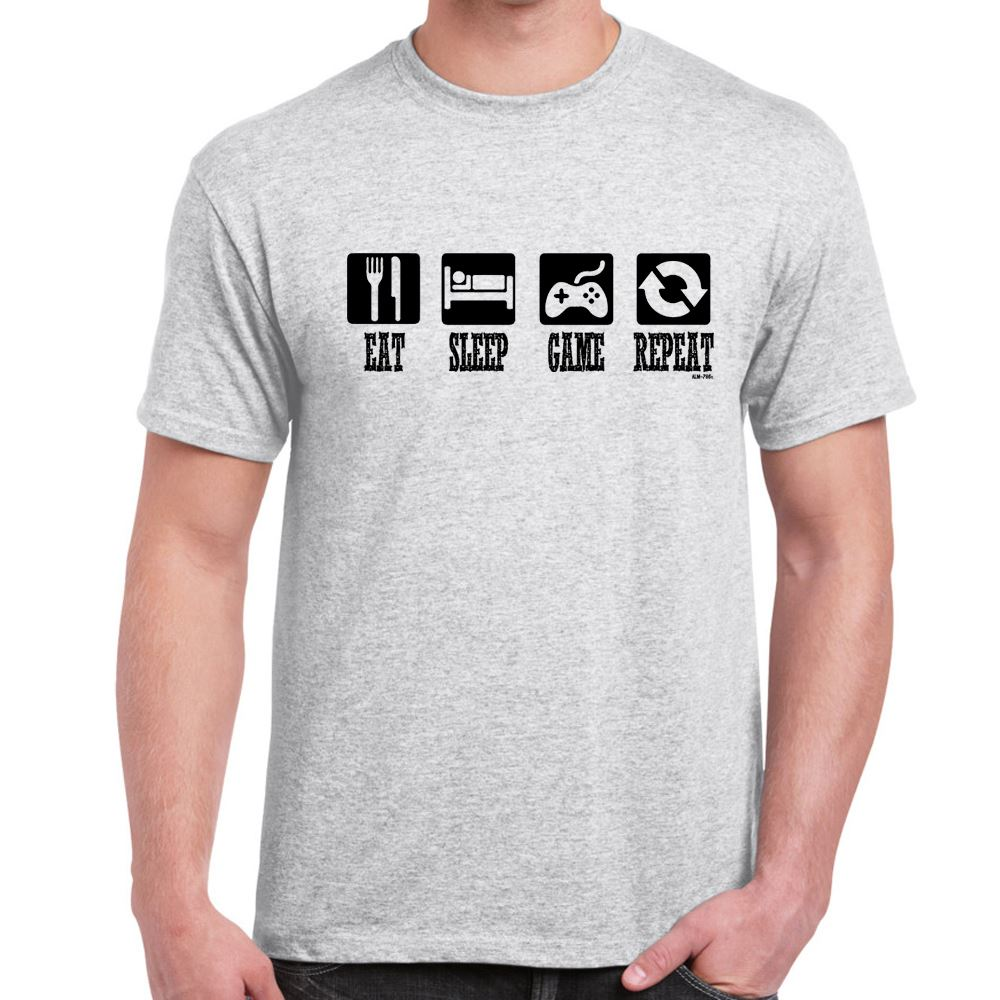 eat sleep game repeat mens funny gaming slogans t shirts