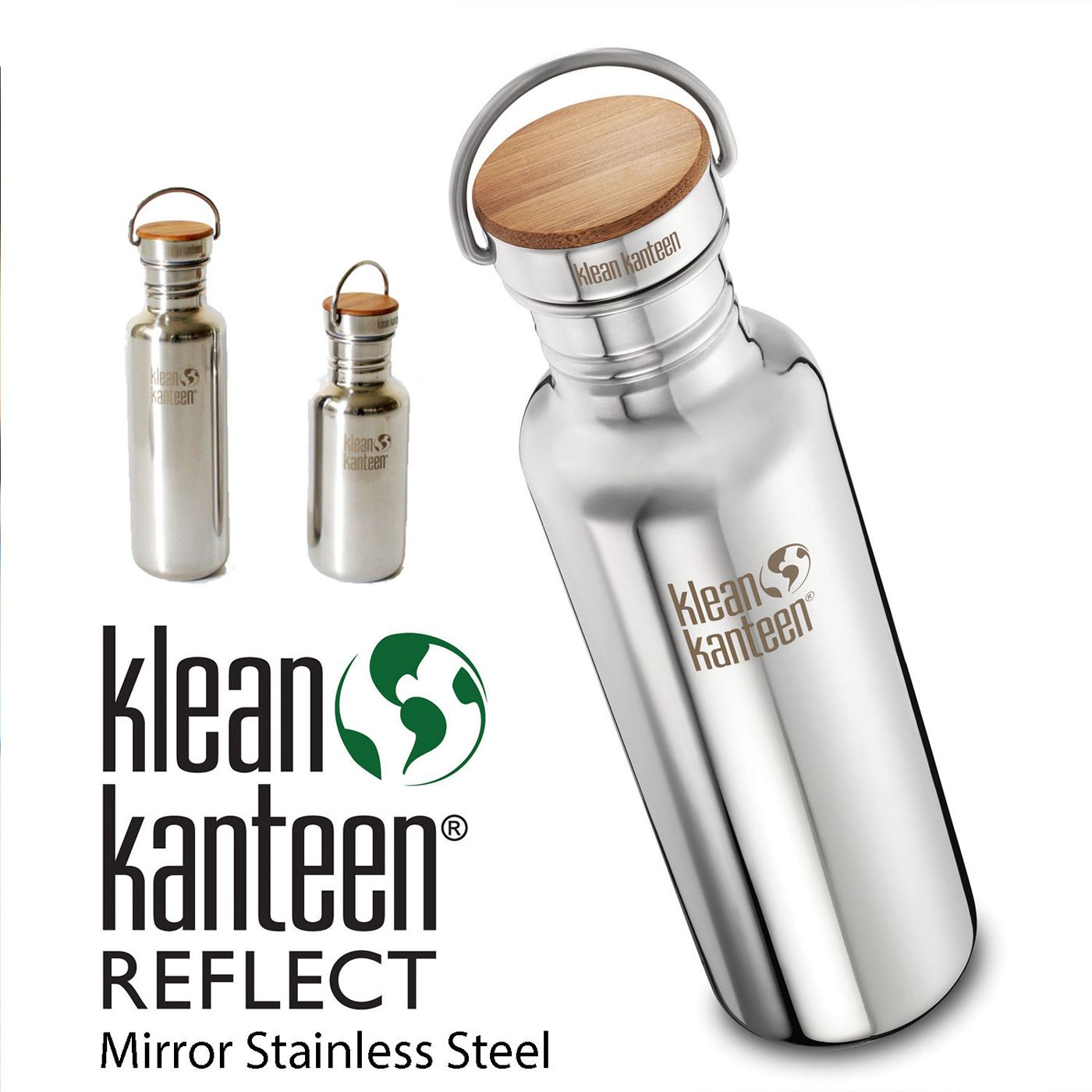 Water Bottle Volume: Klean Kanteen Reflect Stainless Steel Water Bottle Bamboo