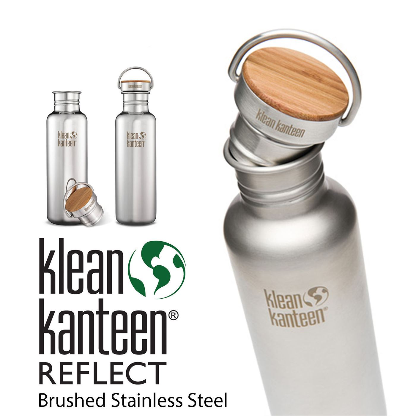 Klean kanteen reflect stainless steel water bottle bamboo for Floor 9 water bottle