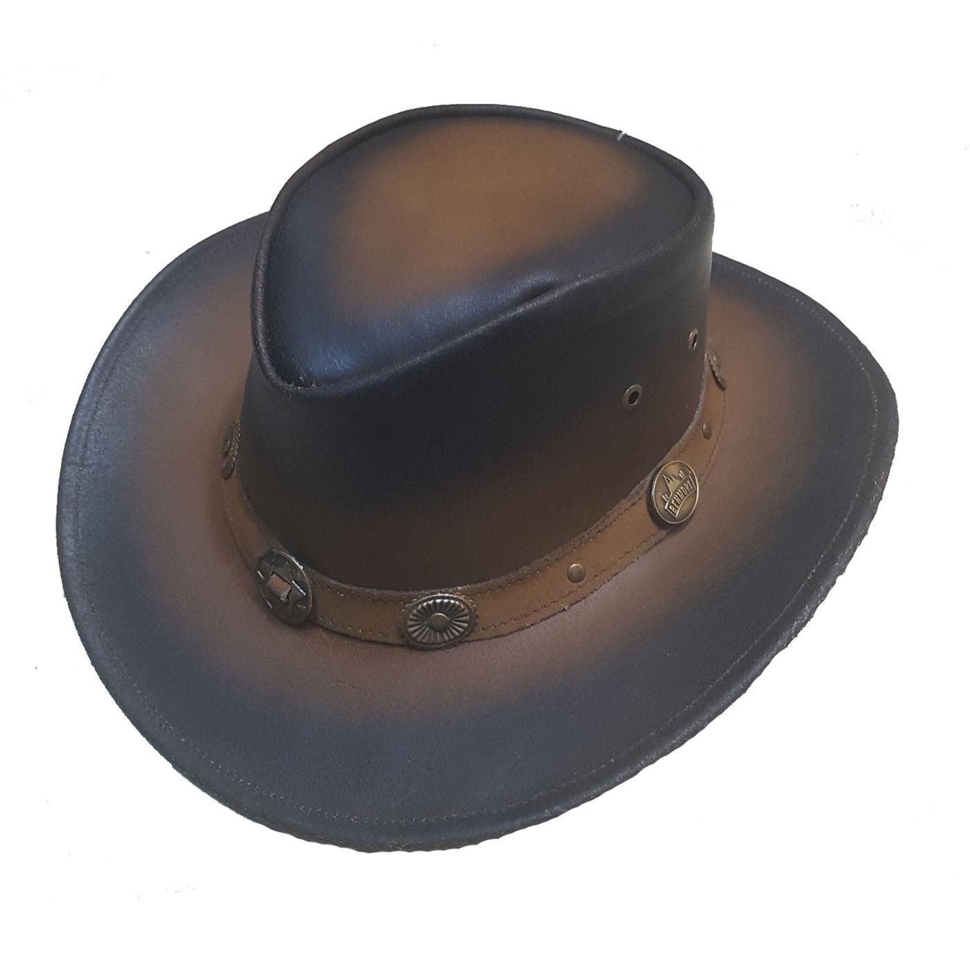 Authentic Benmore Outback Western Style Distressed Cow Leather Aussie Cowboy  Hat 881598540d6